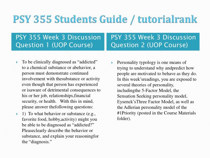 PSY 355 Students Guide /