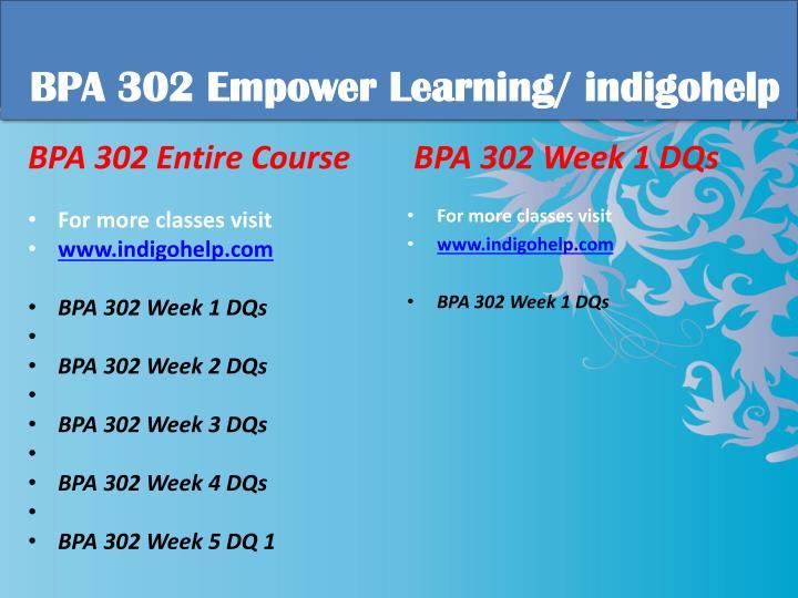 Bpa 302 educational tutor indigohelp