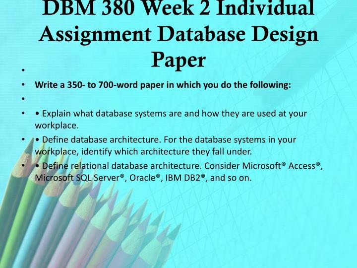 dbm 380 individual database environment paper