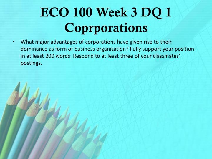 ECO 100 Week 3 DQ 1