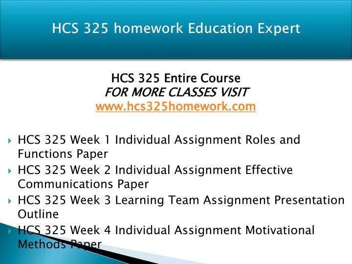 hcs 325 week 4 motivational methods paper Hcs 325 entire course link hcs 325 week 4 motivational methods paper.