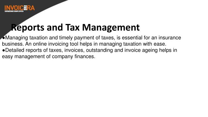 Reports and Tax Management
