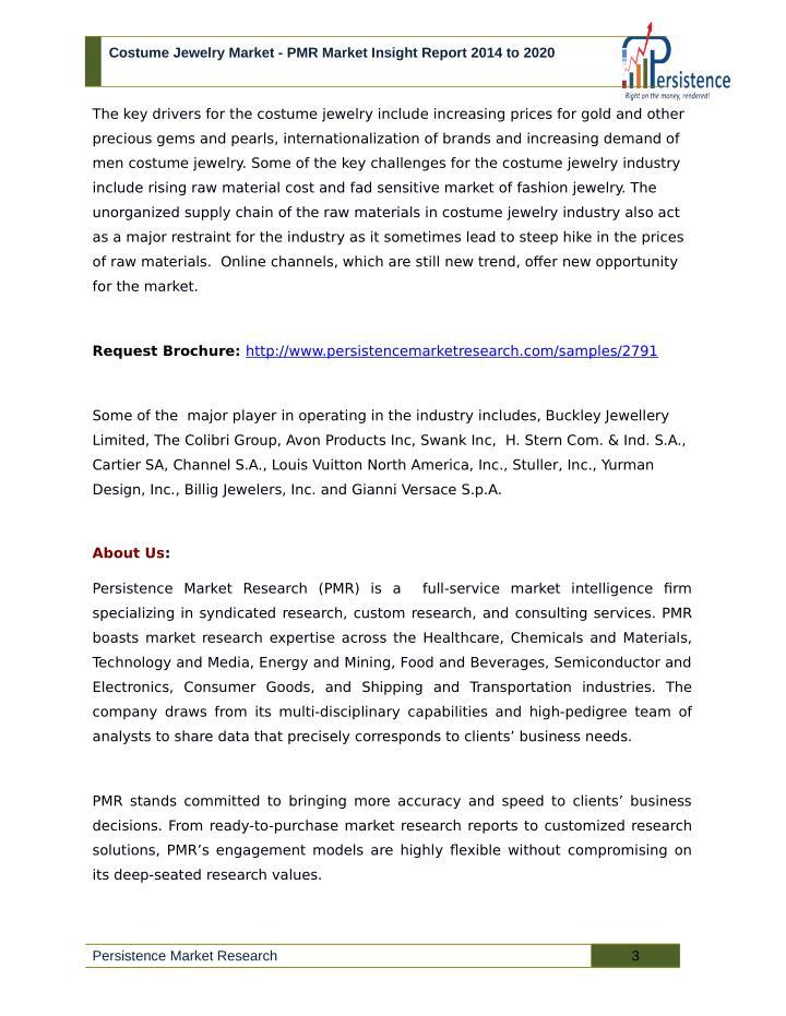 Costume Jewelry Market - PMR Market Insight Report 2014 to 2020