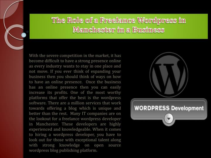 the role of a freelance wordpress in manchester in a business n.