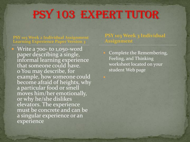 write a 700 to 1050 word paper describing a single informal learning experience that someone could h