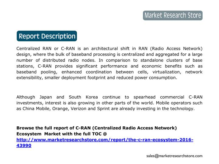 Centralized RAN or C-RAN is an architectural shift in RAN (Radio Access Network)