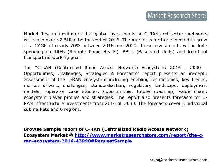 Market Research estimates that global investments on C-RAN architecture networks