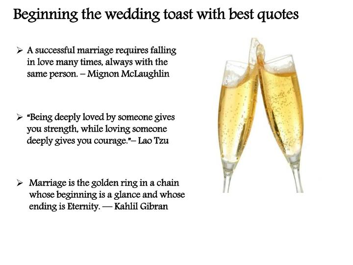 Beginning the wedding toast with best quotes