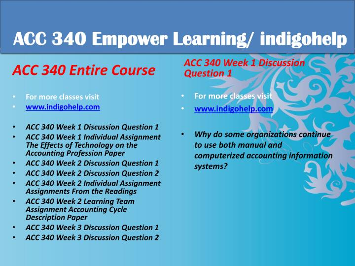 Acc 340 educational tutor indigohelp