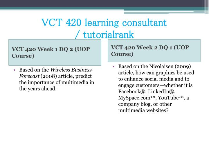 Vct 420 learning consultant tutorialrank2