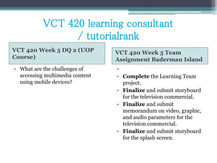 VCT 420 learning consultant