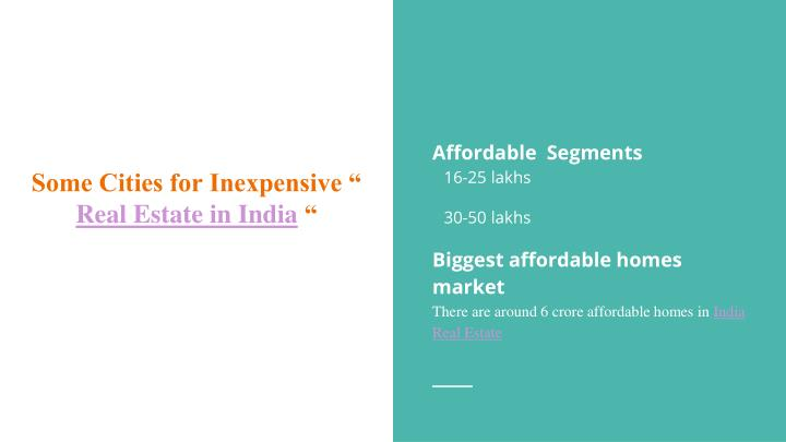 Some cities for inexpensive real estate in india