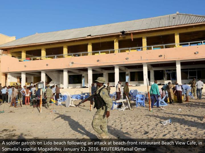 A soldier patrols on Lido beach following an attack at beach-front restaurant Beach View Cafe, in Somalia's capital Mogadishu, January 22, 2016. REUTERS/Feisal Omar
