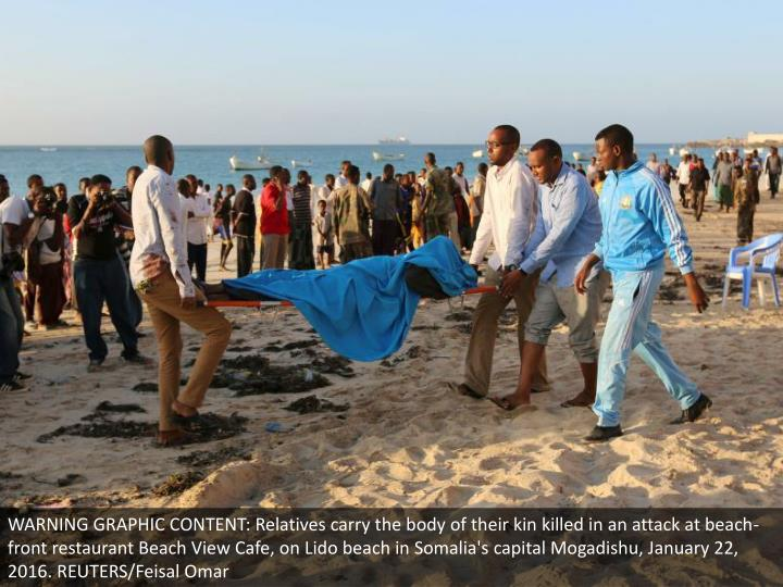 WARNING GRAPHIC CONTENT: Relatives carry the body of their kin killed in an attack at beach-front re...