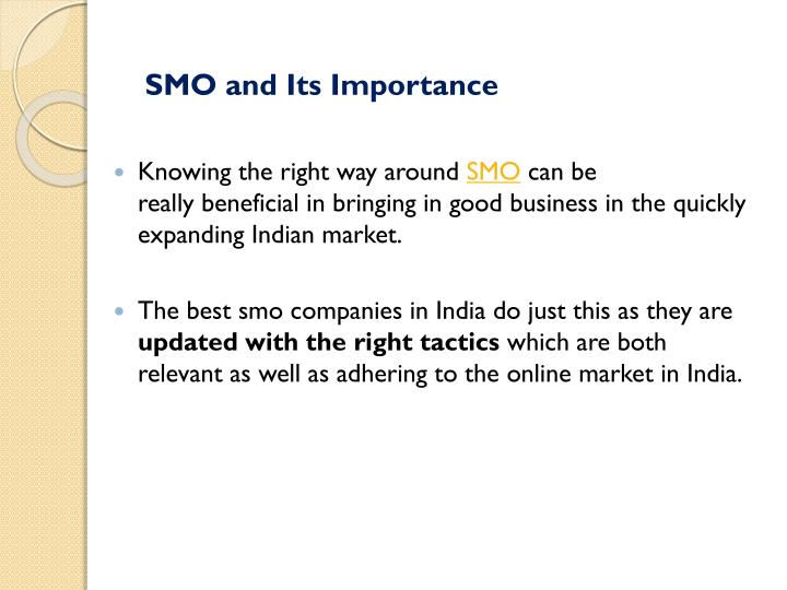 SMO and Its Importance