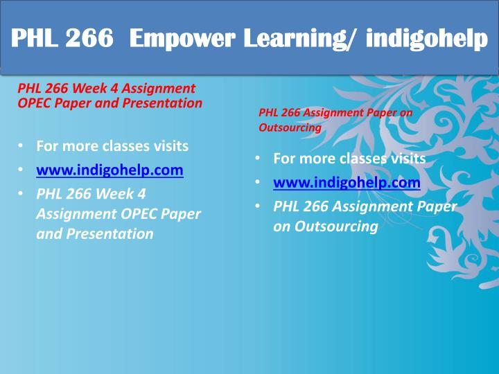PHL 266  Empower Learning/
