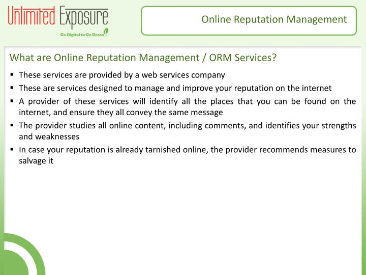 What are Online Reputation Management / ORM Services?
