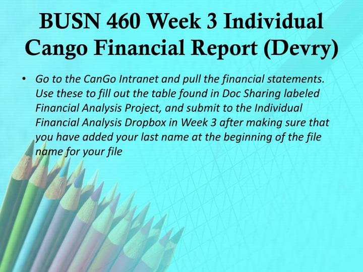 BUSN 460 Week 3 Individual