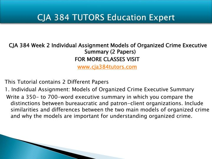 models organized crime executive summary