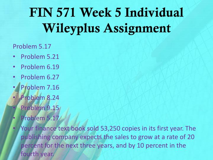 FIN 571 Week 5 Individual
