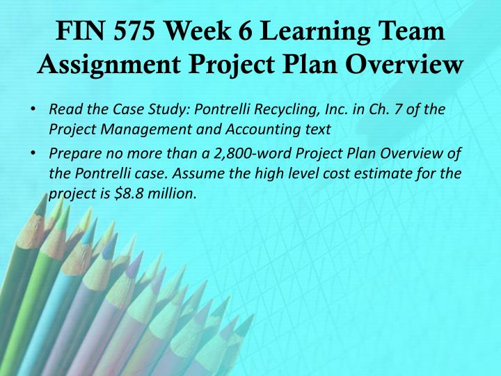 FIN 575 Week 6 Learning Team Assignment Project Plan Overview