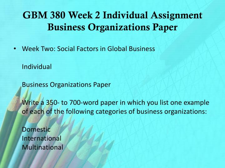 GBM 380 Week 2 Individual Assignment Business Organizations Paper
