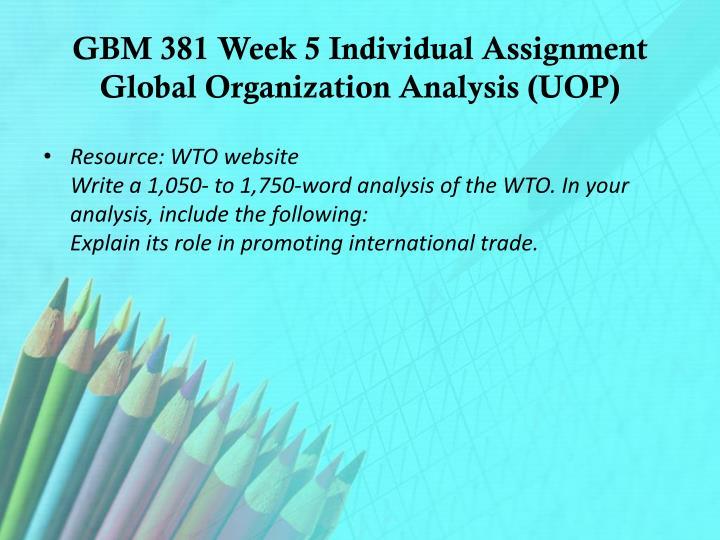 GBM 381 Week 5 Individual Assignment Global Organization Analysis (UOP)