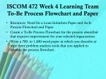 iscom 472 week 4 learning team to be process flowchart and paper
