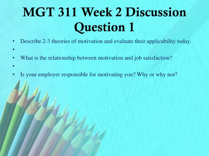 MGT 311 Week 2 Discussion Question 1