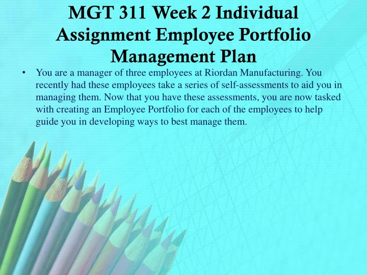 MGT 311 Week 2 Individual Assignment Employee Portfolio Management Plan