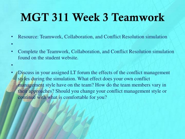 MGT 311 Week 3 Teamwork