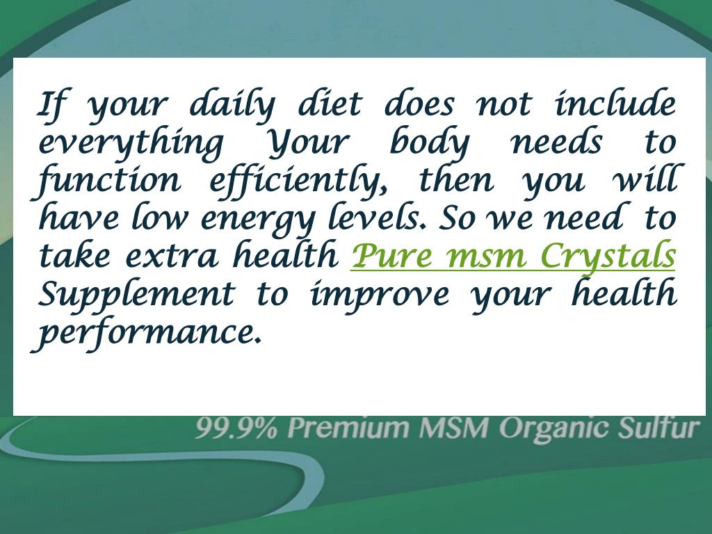 PPT - Optimize Your Health…Organic Sulfur Supplements