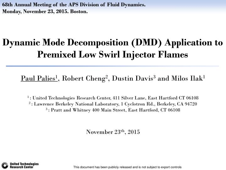 PPT - Dynamic Mode Decomposition (DMD) application to