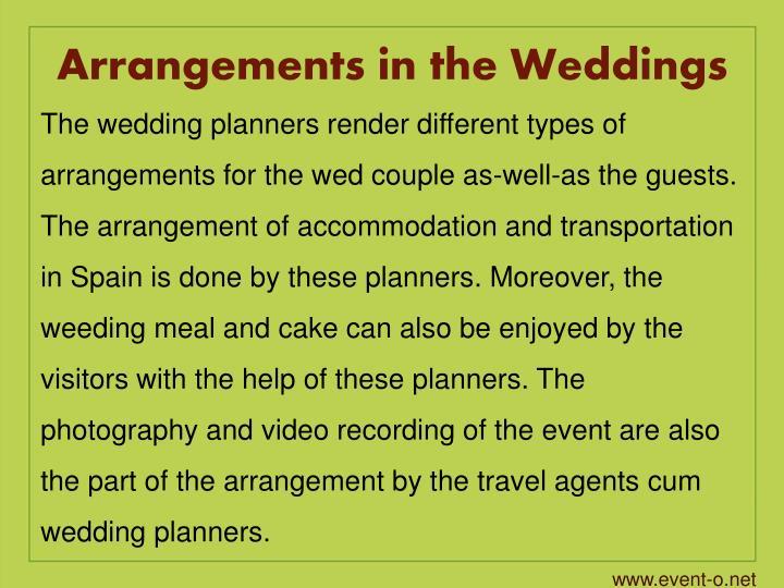 Arrangements in the Weddings