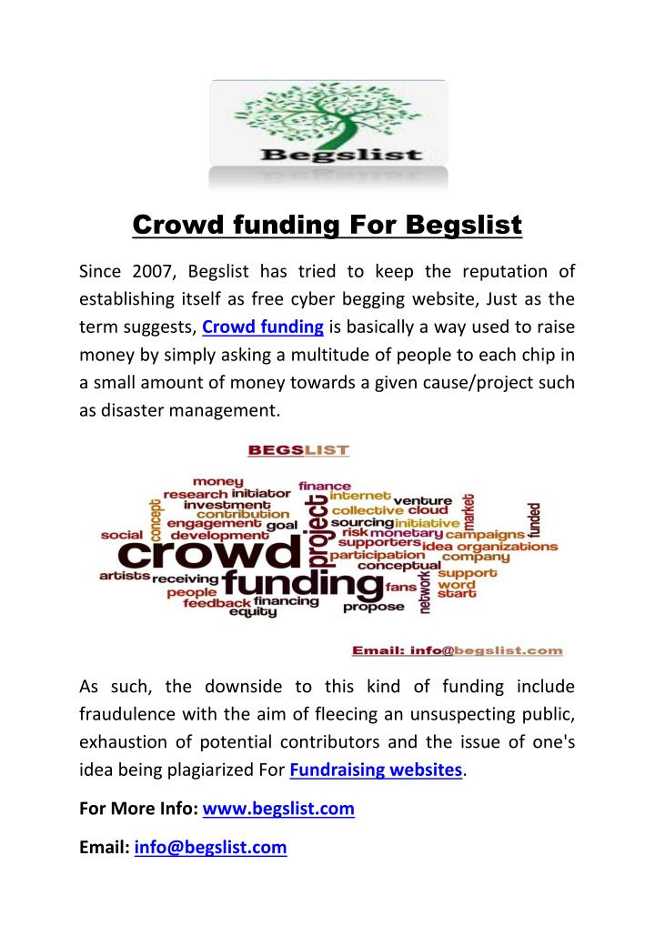Crowd funding For Begslist