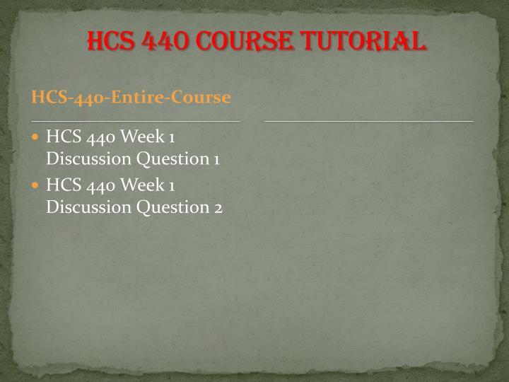 HCS 440 Course