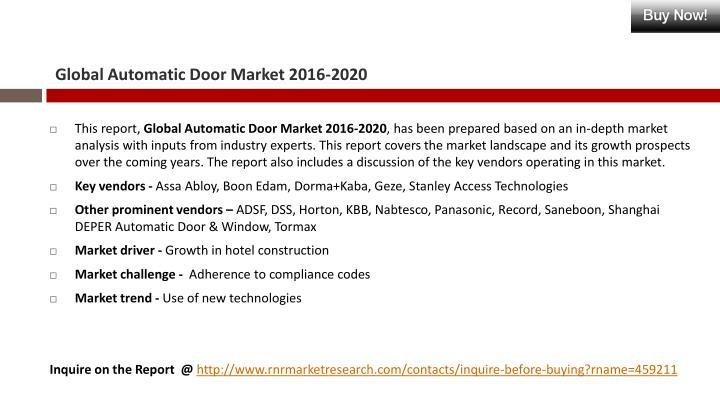 Global Automatic Door Market 2016-2020