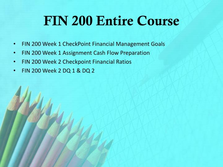 Fin 200 entire course