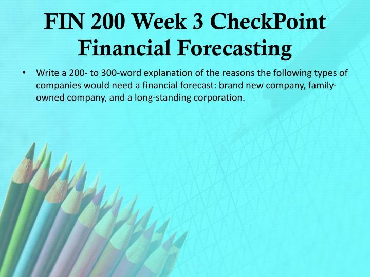 FIN 200 Week 3