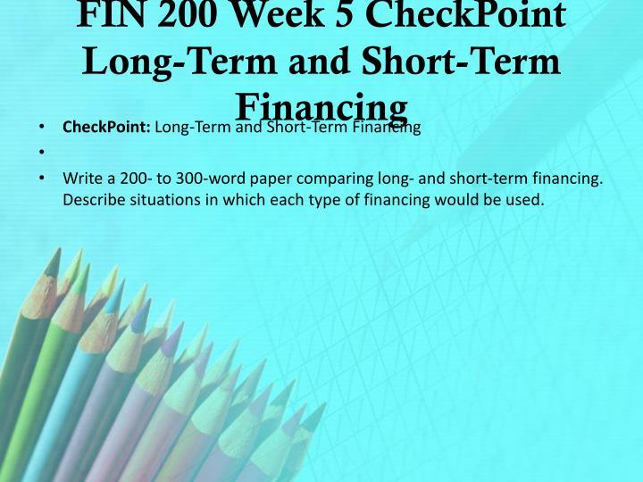 FIN 200 Week 5