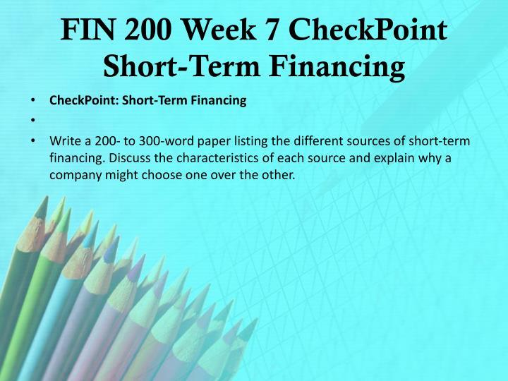 FIN 200 Week 7