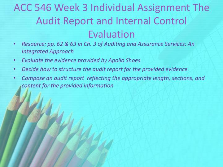 acc 546 beginning the audit report Acc 546 entire coursefor more course tutorials visitwwwshoptutorialcomacc 546 week 1 individual assignment auditing introduction letteracc 546 week 2 individual assignment beginning the audit reportacc 546 week 3 individual assignment the audit report and internal read more.
