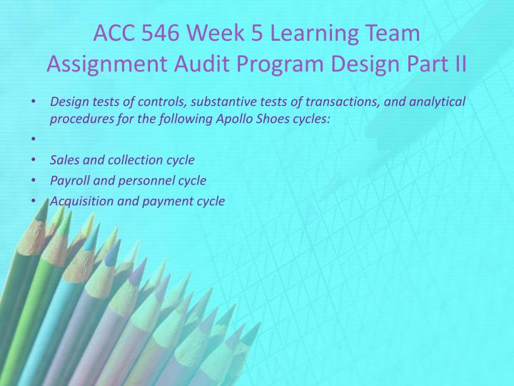 audit program design part ii payroll and personnel cycle test of controls Audit program design part iiaudit program design part ii acc/546 january 31, 2011 at anderson, olds, and watershed, we have developed the following test of controls, substantive test of transactions, and analytical procedures for the audit of the sales and collection cycle, the payroll and personnel cycle, and the acquisition and payment.