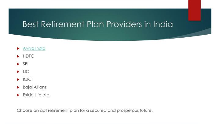 Best Retirement Plan Providers in India