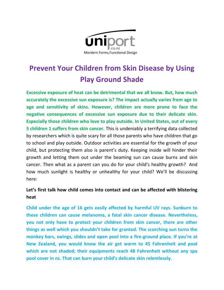 Prevent Your Children from Skin Disease by Using