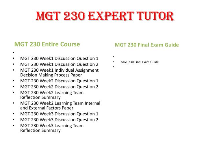 mgt 230 week 3 discussion questions