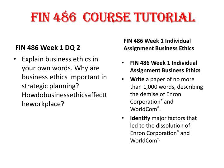 fin 486 week 3 Fin 486 week 4 individual assignment capital budgeting  topics: net present value  week 5 individual assignment fin 370 april 7, 2014.