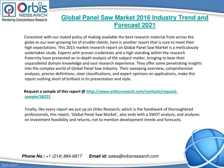 Global panel saw market 2016 industry trend and forecast 20211