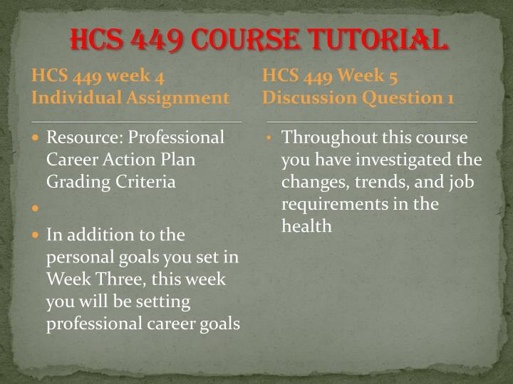 hcs 449 week 4 professional career For more classes visit wwwhcs449tutorscom resource: professional career action plan grading criteria in addition to the personal goals you set in week three, this week you will be setting professional career goals these are goals that relate to your chosen career, what type of job you want, and what steps you need to take to secure.