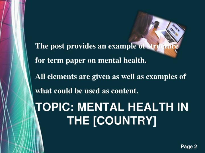 menatl health paper This research paper is going to look at the social work profession and specifically deal with mental health social work in researching on t.